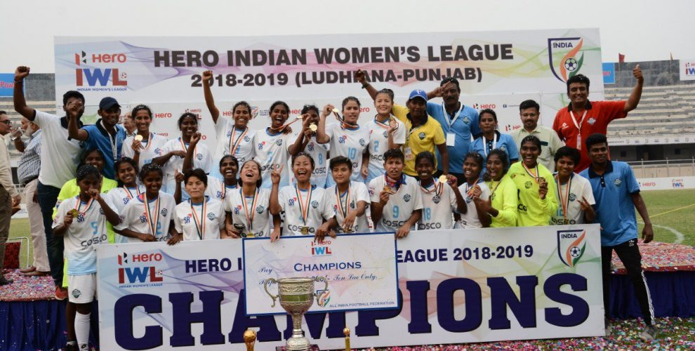 Sethu FC players and officials celebrating their first-ever Hero Indian Women's League (IWL) title. (Photo courtesy: AIFF Media)