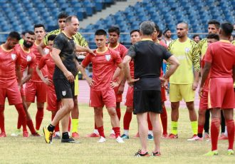 Head coach Igor Štimac, captain Sunil Chhetri and other the members of the Indian national team during a training session at the Jawaharlal Nehru Stadium in Delhi. (Photo courtesy: AIFF Media)