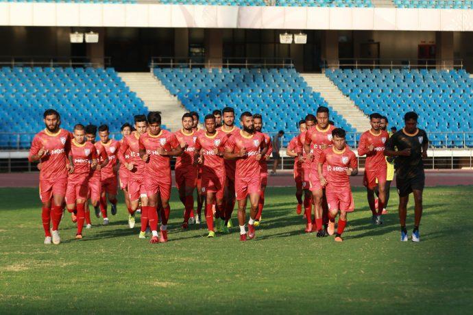 Indian national team training session at the Jawaharlal Nehru Stadium in New Delhi. (Photo courtesy: AIFF Media)