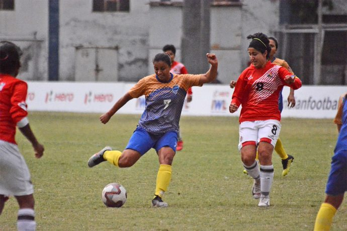 Hero Indian Women's League (IWL) match action between Bangalore United and FC Kolhapur City. (Photo courtesy: AIFF Media)