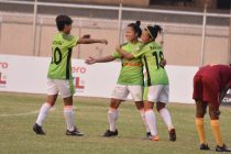Gokulam Kerala FC celebrating one of their goals in the Hero Indian Women's League. (Photo courtesy: AIFF Media)