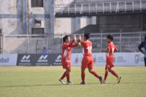 Manipur Police players celebrating one of their goals in the Hero Indian Women's League. (Photo courtesy: AIFF Media)