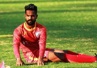 Indian national team striker Joby Justin during a training session. (Photo courtesy: AIFF Media)