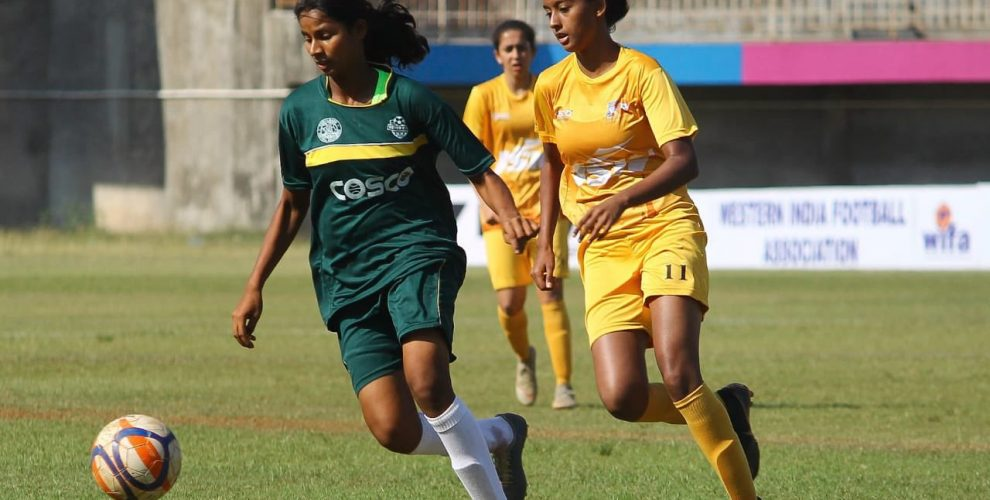 Junior Girls' National Football Championship 2019-20 match action at the Polo Ground in Kolhapur, Maharashtra. (Photo courtesy: AIFF Media)