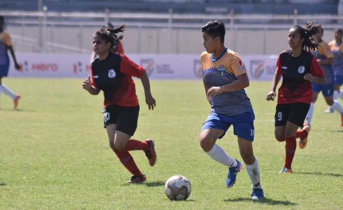 Indian Women's League (IWL) match action between FC Kolhapur City and Baroda Football Academy. (Photo courtesy: AIFF Media)