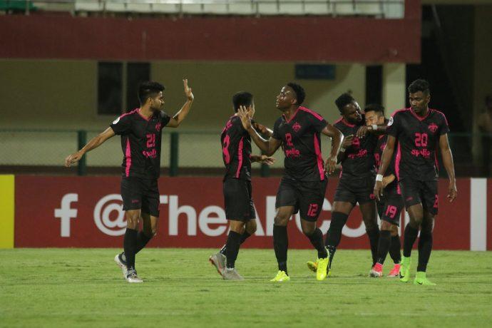 Minerva Punjab FC players celebrating their goal. (Photo courtesy: Minerva Punjab FC)
