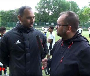 rs1.tv's Arunava Chaudhuri interviewing Chris Punnakkattu Daniel during the German Football Academy's training camp in Remscheid. (Photo courtesy: rs1.tv)