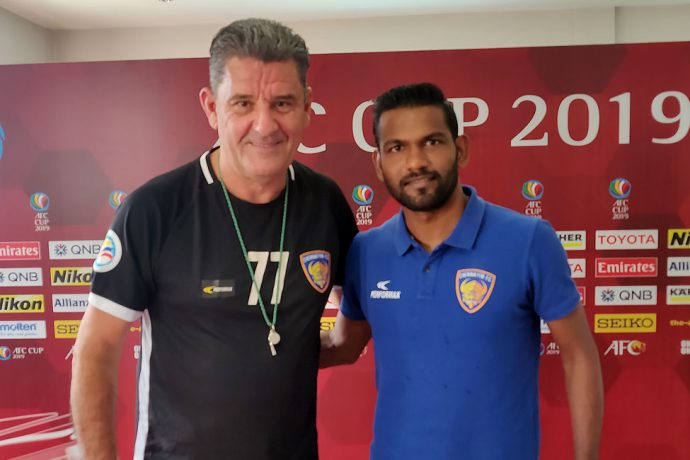 Chennaiyin FC Head Coach John Gregory and midfielder Francisco Fernandes at the official AFC Cup pre-match press conference. (Photo courtesy: Chennaiyin FC)