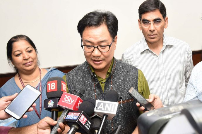Shri Kiren Rijiju interacting with the media after taking charge as the Minister of State (Independent Charge) for Youth Affairs and Sports, in New Delhi on May 31, 2019. (Photo courtesy: Press Information Bureau, Government of India)