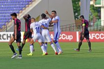 Chennaiyin FC's Mohammed Rafi celebrating his AFC Cup goal with his teammates. (Photo courtesy: Chennaiyin FC)