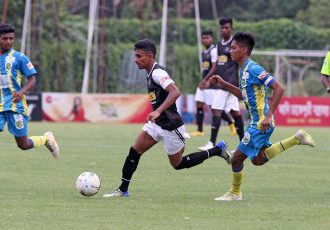 Mohammedan Sporting U-19's Sanjib Ghosh in action against Birbhum Nobles in a Zee Bangla Football League match. (Photo courtesy: Mohammedan Sporting Club)