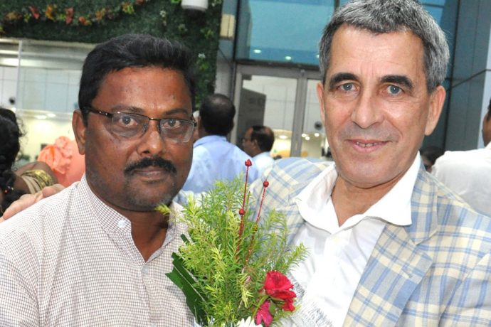 AIFF Technical Director Isac Doru is welcomed by Subhasis Behera, Development Officer, AIFF at his arrival at the Bhubaneswar Airport. (Photo courtesy: Football Association of Odisha)