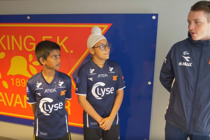 Kolkata-based German Football Academy India (GFA) cadets Utsabh Banerjee and Nirvaan Swahaney at Viking FK. (Photo courtesy: Screenshot - YouTube Video)