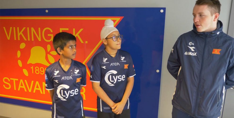 Kolkata-based German Football Academy India (GFA) cadets Utsabh Banerjee and Nirvaan Swahaney at Viking FK. (Photo courtesy: Screenshot - YouTube Video)