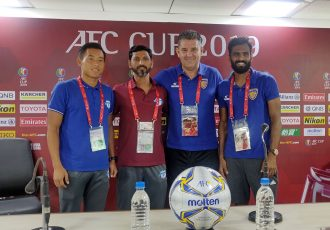 Chennaiyin FC striker CK Vineeth, Chennaiyin FC head coach John Gregory, Minerva Punjab FC head coach Sachin Badadhe and Minerva Punjab FC defender Thoiba Singh at the AFC Cup pre-match press conference. (Photo courtesy: Chennaiyin FC)