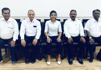 Anju Turambekar, Head of Grassroots & Instructor, All India Football Federation with Chhattisgarh Football Association (CFA) officials. (Photo courtesy: AIFF Media)