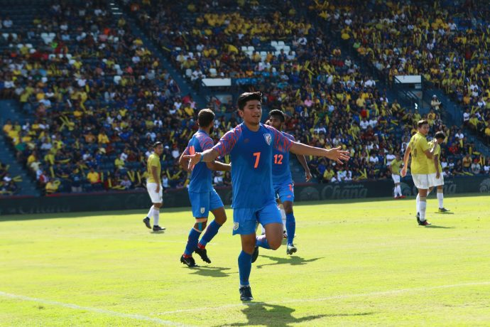 Indian national team midfielder Anirudh Thapa celebrating his goal against hosts Thailand in the King's Cup 2019. (Photo courtesy: AIFF Media)