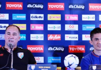 Indian national team head coach Igor Štimac and captain Sunil Chhetri. (Photo courtesy: AIFF Media)