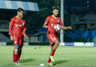 The young gungs during the Indian national team's training session. (Photo courtesy: AIFF Media)