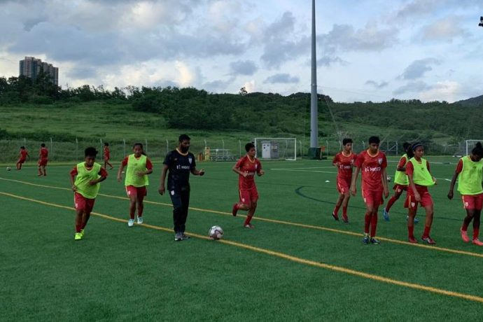 India U-17 Women's national team training session under the supervision of head coach Alex Ambrose. (Photo courtesy: AIFF Media)