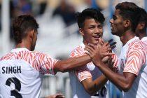 India U-19 national team players celebrating a goal. (Photo courtesy: AIFF Media)