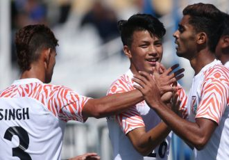 India U-19 national team players celebrating a goal. (Photo courtesy: AIFF Media)