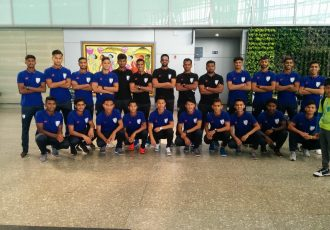 The India U-19 national team at the Delhi Airport. (Photo courtesy: AIFF Media)