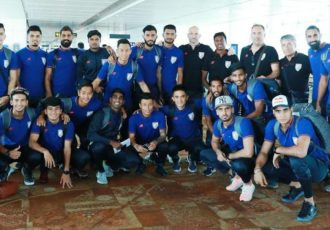 The Indian national team at the Delhi Airport. (Photo courtesy: AIFF Media)