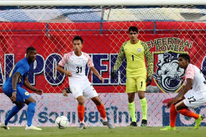 Amarjit Singh Kiyam, Gurpreet Singh Sandhu and Raynier Fernandes in action for the Indian national team against Curaçao in the King's Cup 2019. (Photo courtesy: AIFF Media)