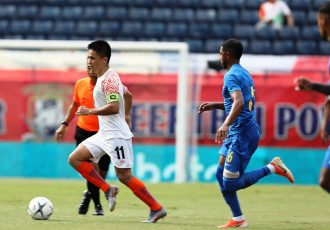 Indian national team star skipper Sunil Chhetri in action against Curaçao in the King's Cup 2019. (Photo courtesy: AIFF Media)