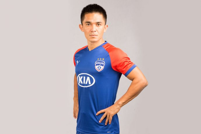 Bengaluru FC star striker Sunil Chhetri presenting the new PUMA home kit for the 2019/20 season. (Photo courtesy: Bengaluru FC)