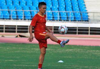Indian national team striker Sunil Chhetri during a training session. (Photo courtesy: AIFF Media)