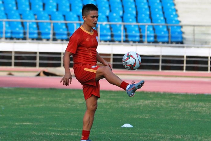 Indian national team striker Sunil Chhetri during a training session. (Photo courtesy: AIFF Media)
