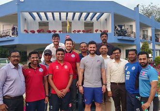 Jamshedpur FC officials at the Tata Football Academy. (Photo courtesy: Jamshedpur FC)
