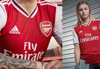 Arsenal FC women's team star Leah Williamson (right) wearing the new home kit by adidas. (Photo courtesy: adidas)