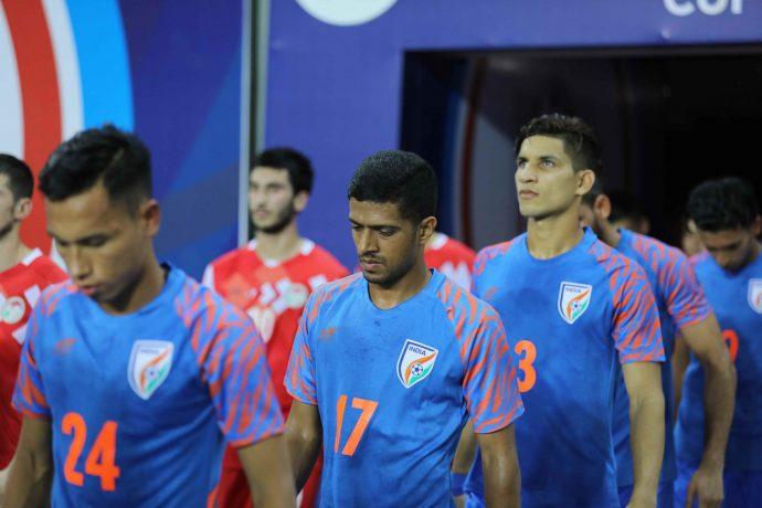 Indian national team debutants Mandar Rao Desai (#17) and Narender Gahlot (#3). (Photo courtesy: AIFF Media)