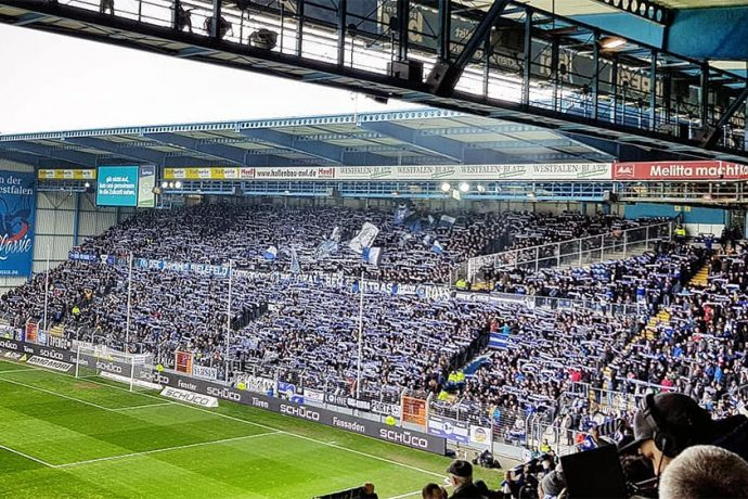 DSC Arminia Bielefeld's home ground, the SchücoArena, on a Bundesliga 2 matchday. (© CPD Football)