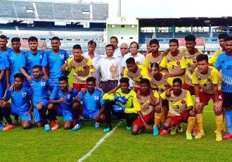 Odisha Sports Hostel and Odisha Police players and official at the 2019 FAO League opening match. (Photo courtesy: Football Association of Odisha)