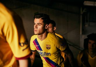 Philippe Coutinho presents the new 2019/20 FC Barcelona away kit. (Photo courtesy: Nike)