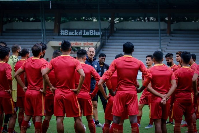 Indian national team head coach Igor Štimac with his squad during a training session. (Photo courtesy: AIFF Media)