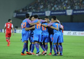 Indian national team celebrating one of their goals against Tajikistan in the Hero Intercontinental Cup 2019. (Photo courtesy: AIFF Media)
