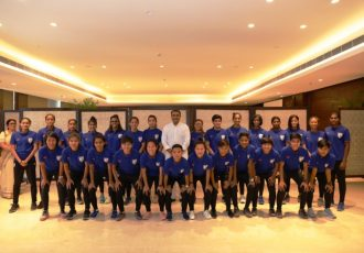 All India Football Federation (AIFF) President Praful Patel with the Indian Women's national team. (Photo courtesy: AIFF Media)