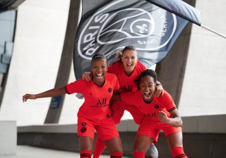 Paris Saint-Germain Women's team star players Grace Geyoro, Ève Périsse and Marie-Antoinette Katoto presenting PSG's debut Jordan third kit for the 2019/20 season. (Photo courtesy: Nike)