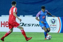 Indian national team full back Mandar Rao Dessai in action against Tajikistan in the Hero Intercontinental Cup 2019. (Photo courtesy: AIFF Media)