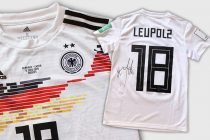 Original match worn and autographed Germany jersey by Melanie Leupolz. (Photo courtesy: United Charity)