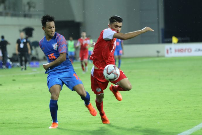 Indian national team star Udanta Singh in action against Tajikistan in the Hero Intercontinental Cup 2019. (Photo courtesy: AIFF Media)