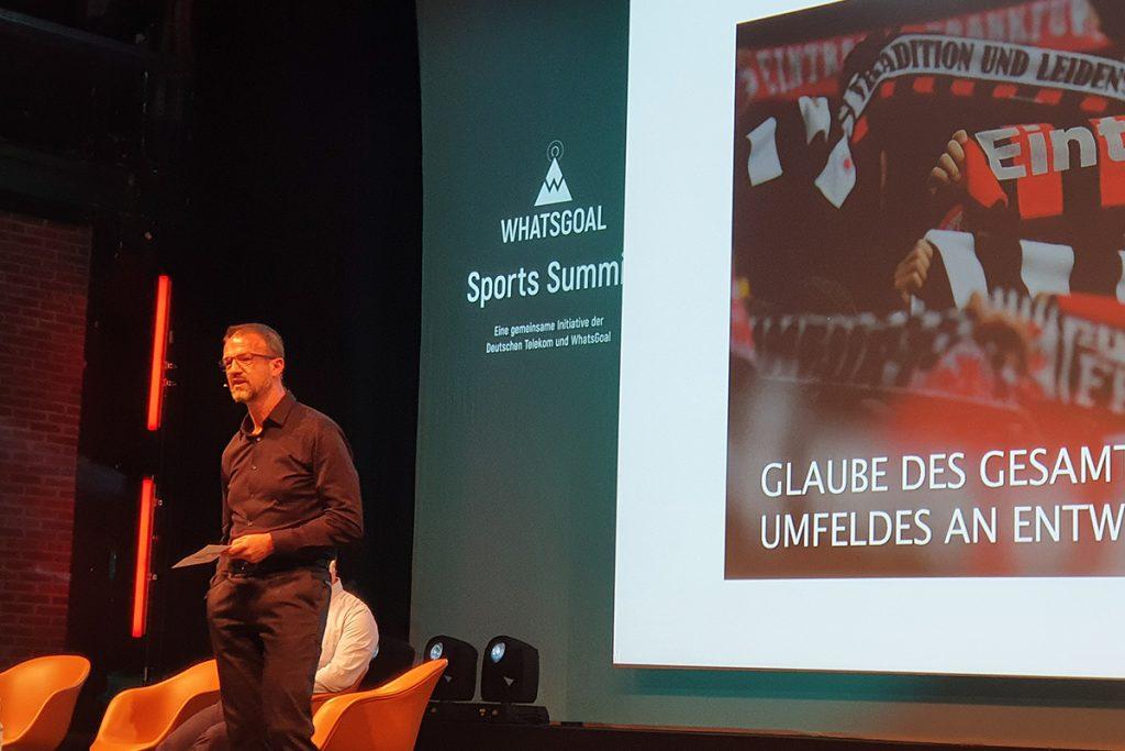 Eintracht Frankfurt's Director of Sports Fredi Bobic explaining the impact of the 2018/19 UEFA Europa League season at his club. (© CPD Football)