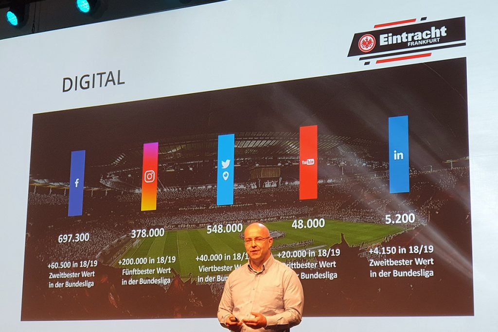 Mario Leo, Founder & CEO of Result Sports presenting the social media fan engagement and figures at Eintracht Frankfurt. (© CPD Football)
