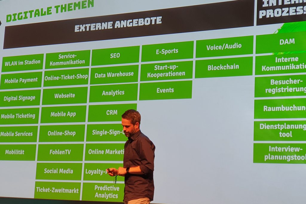 Andreas Cüppers (Head of Digital, Borussia Mönchengladbach) during a presentation on the introduction of a digital advisory council at his club. (© CPD Football)