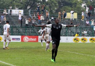 Mohammedan Sporting Club's Desmos Arthur Kouassi celebrating one of his goals in the Durand Cup 2019. (Photo courtesy: Mohammedan Sporting Club)